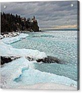 Aqua Ice At Split Rock Lighthouse Acrylic Print
