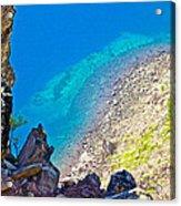 Aquamarine Shoreline At North Junction Of Crater Lake In Crater Lake National Park-oregon Acrylic Print