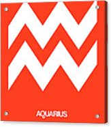 Aquarius Zodiac Sign White On Orange Acrylic Print