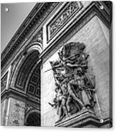 Arc De Triomphe In Black And White Acrylic Print