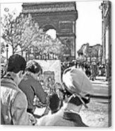 Arc De Triomphe Painter - B W Acrylic Print