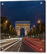 Arch De Triomphe And Avenue Des Champs Elysees Paris France Acrylic Print