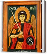 Archangel Michael Hand-painted Wooden Holy Icon Orthodox Iconography Icons Ikons Acrylic Print by Denise Clemenco