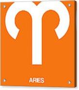 Aries Zodiac Sign White On Orange Acrylic Print