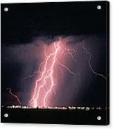Arizona  Lightning Over City Lights Acrylic Print