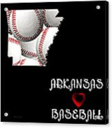 Arkansas Loves Baseball Acrylic Print by Andee Design