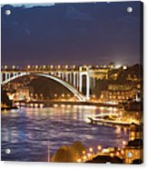 Arrabida Bridge At Night In Porto And Gaia Acrylic Print