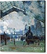 Arrival Of The Normandy Train Gare Saint-lazare Acrylic Print