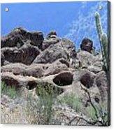 Art 1904 American Landscape Cactus Stone Mountains And Skyview By Navinjoshi Artist Toronto Canada Acrylic Print
