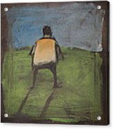 art critic relieves himself on Rothko's field Acrylic Print