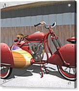 Art Deco Motorcycle With Sidecar Acrylic Print