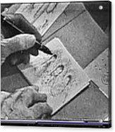 Art Homage Ted Degrazia Pen Ink Drawing On Camera Kvoa Tv Studio January 1966  Acrylic Print