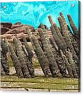 Art No.1900 American Landscape Cactus Stone Mountains And Skyview By Navinjoshi Artist Toronto Canad Acrylic Print
