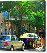 Art Of Montreal Day With Daddy And Yellow Wagon Zooming Our Streets Of Verdun Scene Carole Spandau  Acrylic Print