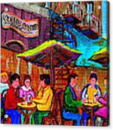 Art Of Montreal Enjoying A Pint At Ye Olde Orchard Irish Pub And Grill Monkland Village Cafe Scenes Acrylic Print