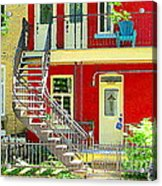 Art Of Montreal Upstairs Porch With Summer Chair Red Triplex In Verdun City Scene C Spandau Acrylic Print