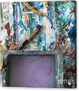 Art Table With Water And Brush Acrylic Print