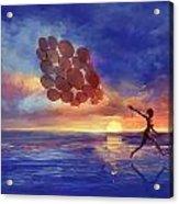 Art The Sea  A Girl Balloons Running Acrylic Print