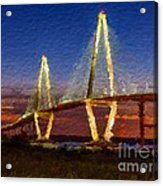 Arthur Ravenel Bridge At Evening  Acrylic Print