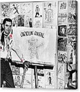 Artist Chuck Amesbury Aka Chuck Waggin Cartoon Corral Kvoa Tv Circa 1962-2013 Acrylic Print