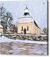 Artistic Presentation Of #svinnegarns #kyrka #church Of #svinnegarn March 2014 Viewed From The Parki Acrylic Print