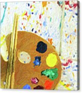 Artists Easel And Splatter Acrylic Print