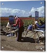 Artists Painting Tulip Fields Standing In A Row  Acrylic Print