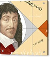 Artwork Of Rene Descartes With Equations And Lines Acrylic Print