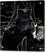 As Aphrodite Coming From Sea Foam. Black Art Acrylic Print by Jenny Rainbow