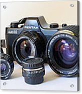 Asahi Pentax Auto 110 Mini Camera And Lenses Acrylic Print by Melany Sarafis