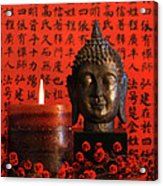Asian Candle With Red Orential Background Acrylic Print by Sandra Cunningham