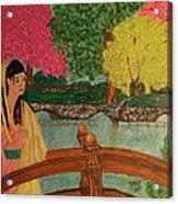Asian Girl On Bridge  Acrylic Print