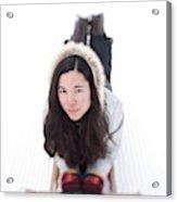 Asian Woman Posing For A Portrait Lying Acrylic Print