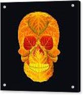 Aspen Leaf Skull 6 Black Acrylic Print