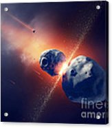 Asteroids Collide And Explode  In Space Acrylic Print