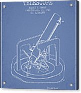 Astronomical Telescope Patent From 1943 - Light Blue Acrylic Print