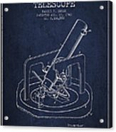 Astronomical Telescope Patent From 1943 - Navy Blue Acrylic Print
