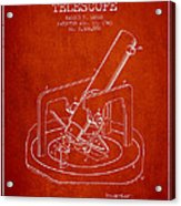 Astronomical Telescope Patent From 1943 - Red Acrylic Print