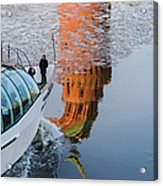At The Background Of Moscow Kremlin - Featured 3 Acrylic Print
