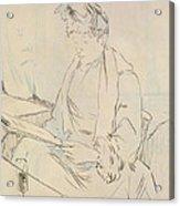 At The Cafe Acrylic Print by Henri de Toulouse-Lautrec