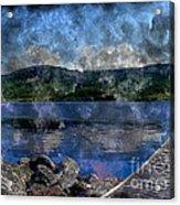 At The Lake - Fishing - Steel Engraving Acrylic Print