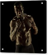 Athletic Female, Angry Shout, Clenched Acrylic Print