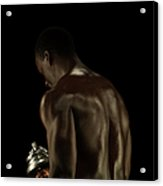 Athletic Male Exercising With A Hand Acrylic Print