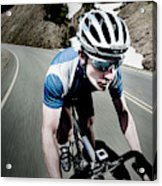 Athletic Male High Speed Cycling Acrylic Print