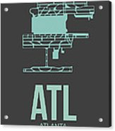 Atl Atlanta Airport Poster 2 Acrylic Print by Naxart Studio