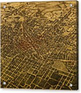 Atlanta Georgia City Schematic Street Map 1892 On Recovered Worn Parchment Paper Acrylic Print