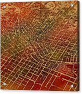 Atlanta Georgia City Street Map Watercolor From 1892 On Recovered Worn Parchment Paper Acrylic Print