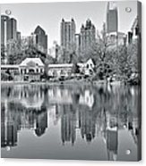 Atlanta Reflecting In Black And White Acrylic Print