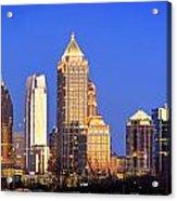 Atlanta Skyline At Dusk Midtown Color Panorama Acrylic Print