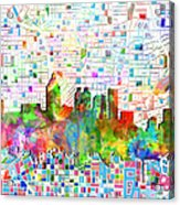 Atlanta Skyline Watercolor 3 Acrylic Print